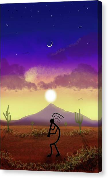 Canvas Print featuring the digital art Kokopelli Dream World by Chance Kafka