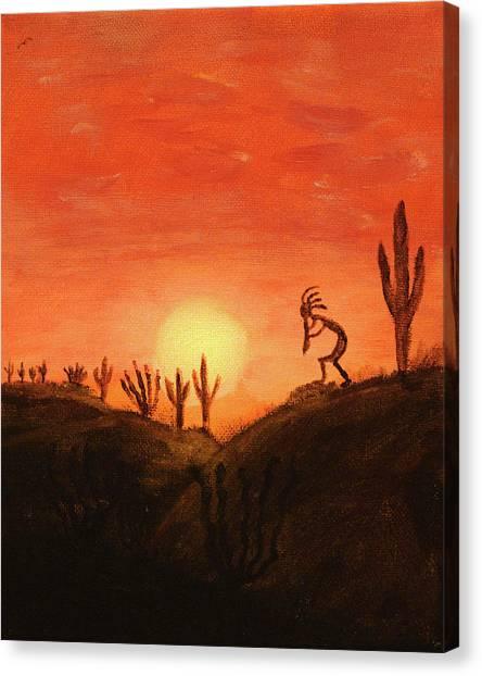 Kokopelli's Sunset Song Canvas Print