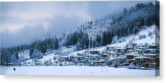 Canvas Print featuring the photograph Koprivshtica Winter Panorama by Milan Ljubisavljevic