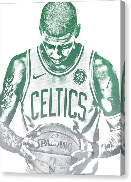 Celtics Canvas Print - Kyrie Irving Boston Celtics Water Color Pixel Art 30 by Joe Hamilton