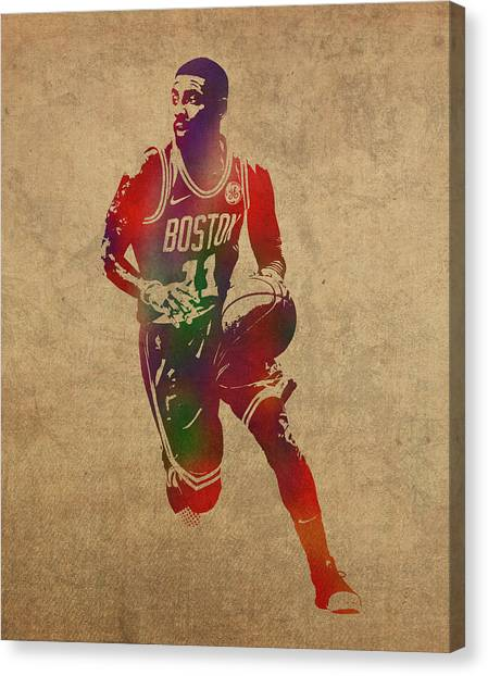 Kyrie Irving Canvas Print - Kyrie Irving Watercolor Portrait by Design Turnpike