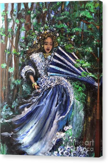 Lady In Forest Canvas Print