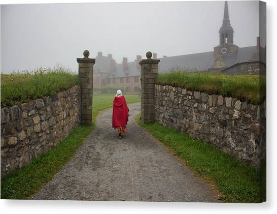 Cabot Trail Canvas Print - Lady In Red - Fortress Louisburg by Spencer Bush