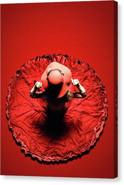 See Canvas Print - Lady In Red by Johan Swanepoel