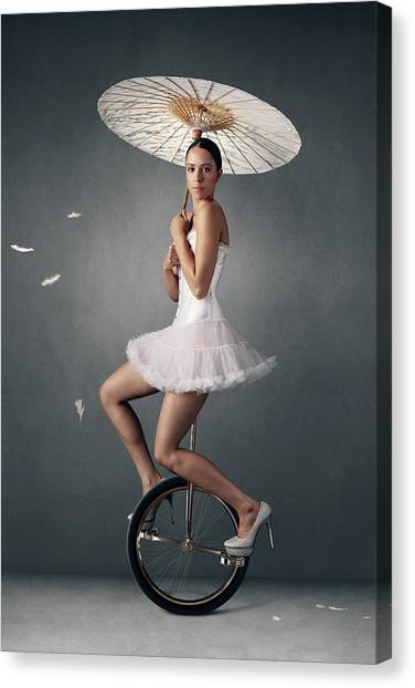Cloudscape Canvas Print - Lady On A Unicycle by Johan Swanepoel