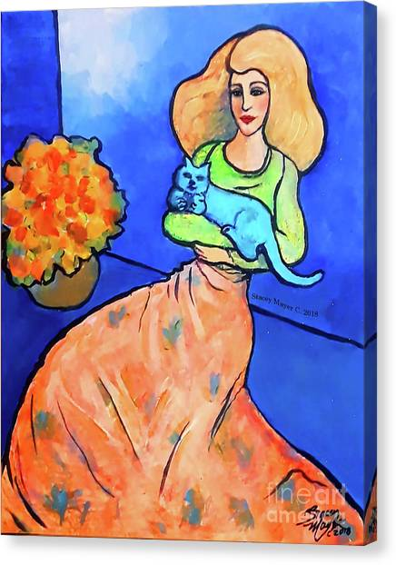 Lady With Blue Cat Canvas Print