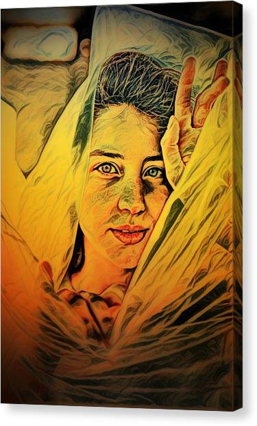 Lady Wrapped In Strings Canvas Print