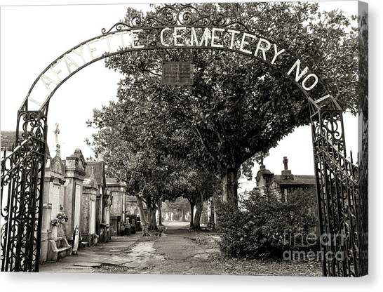 Lafayette Cemetery No. 1 Sepia In New Orleans Canvas Print by John Rizzuto