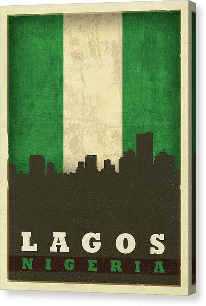 Nigeria Canvas Print - Lagos Nigeria World City Flag Skyline by Design Turnpike