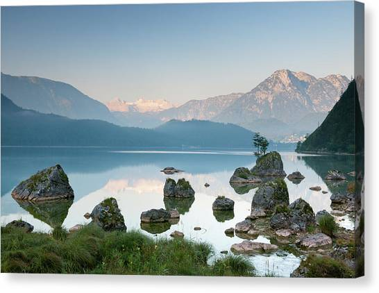 Lake Altaussee With Glacier Dachstein Canvas Print by 4fr