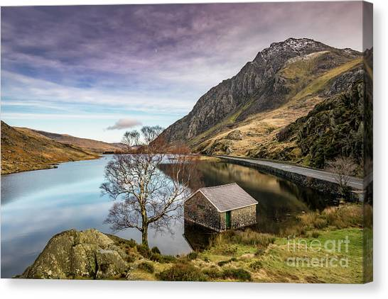 Tryfan Mountain Canvas Print - Lake And Moon Snowdonia  by Adrian Evans