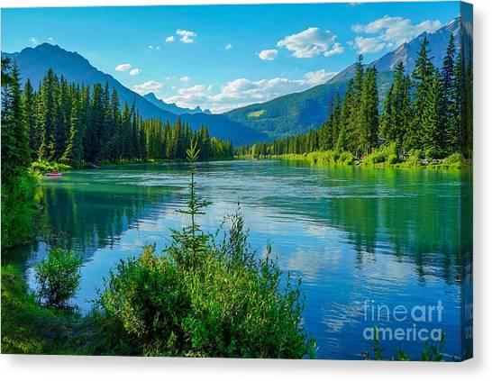 Lake At Banff Indian Trading Post Canvas Print