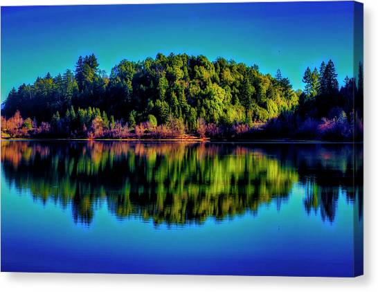 Treeline Canvas Print - Lake Double Reflection by Garry Gay