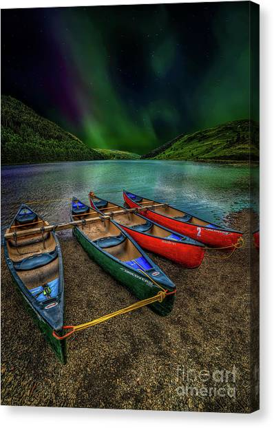 Canvas Print - lake Geirionydd Canoes by Adrian Evans