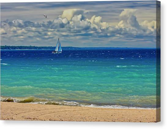 Lake Huron Sailboat Canvas Print