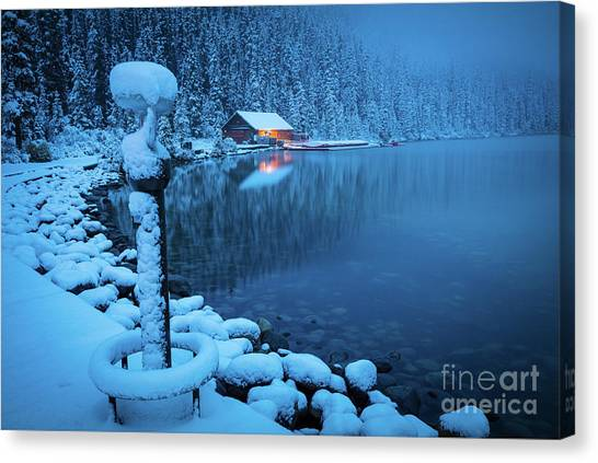 Foggy Forests Canvas Print - Lake Louise Blue Morning by Inge Johnsson