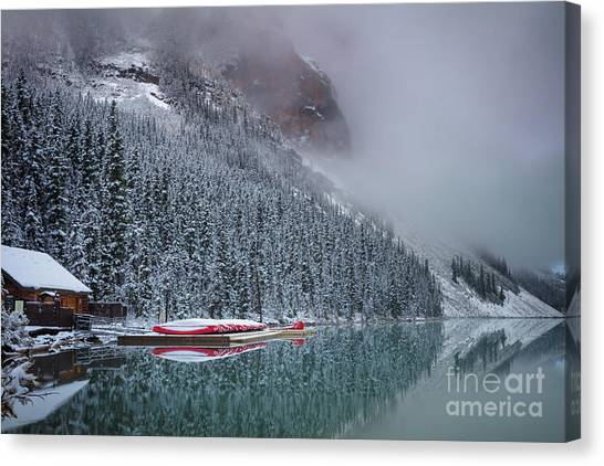 Foggy Forests Canvas Print - Lake Louise Boats In Winter by Inge Johnsson