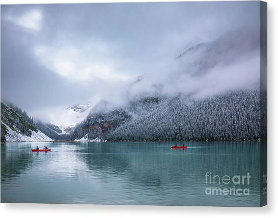 Foggy Forests Canvas Print - Lake Louise Canoeing by Inge Johnsson