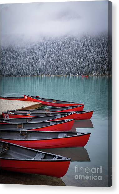 Foggy Forests Canvas Print - Lake Louise Canoes by Inge Johnsson