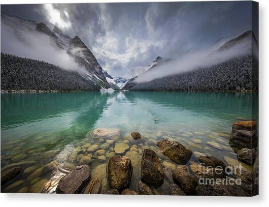 Foggy Forests Canvas Print - Lake Louise Misty Dawn by Inge Johnsson