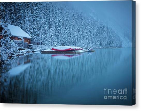 Foggy Forests Canvas Print - Lake Louise Misty Winter Morning by Inge Johnsson