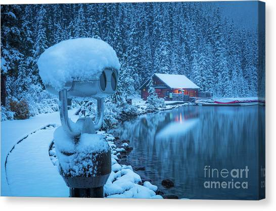 Foggy Forests Canvas Print - Lake Louise Winter Morning by Inge Johnsson