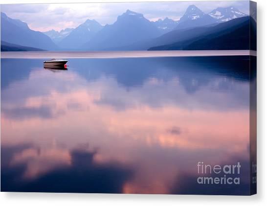 Canoe Canvas Print - Lake Mcdonald by Yao Li Photography
