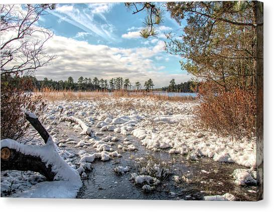 Canvas Print featuring the photograph Lake Oswego After The Snow  by Kristia Adams