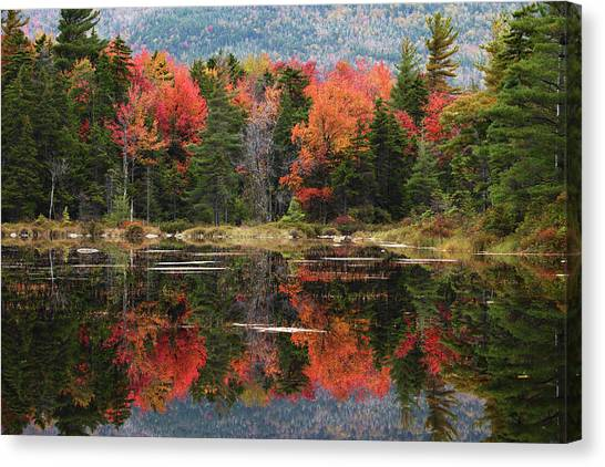 Lake Perfectly Reflects Powerful Fall Canvas Print