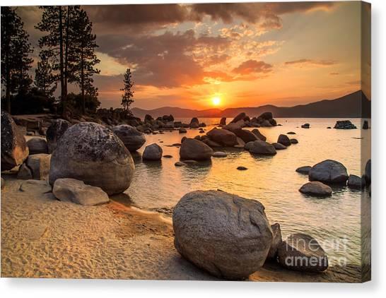 Lake Tahoe Canvas Print - Lake Tahoe At Sunset by Topseller