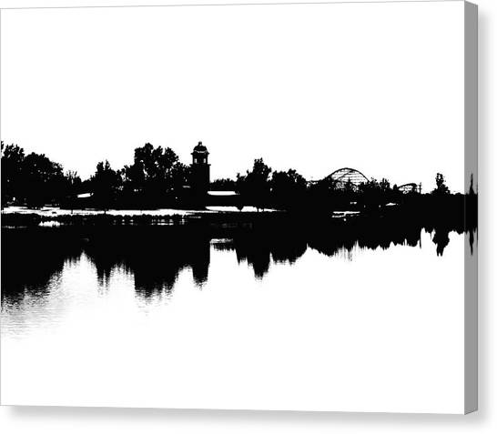 Lakeside Silhouette Canvas Print