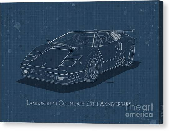 Lamborghini Countach 25th Anniversary - Front View - Stained Blu Canvas Print