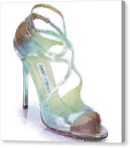 Jimmy Choo Canvas Print - Lance Metallic Sandal by Modern Art