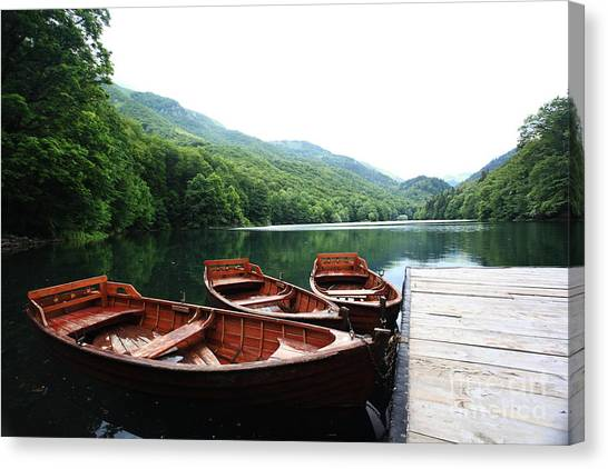 Canoe Canvas Print - Landscape Bay Sea Boat Adventure by Kichigin