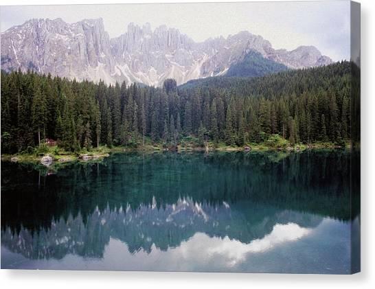 Landscape Of Carezza Lake And Latemar Canvas Print by Stefano Salvetti