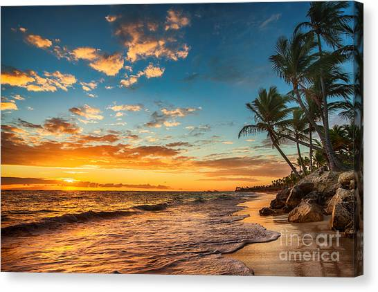 Tropical Plant Canvas Print - Landscape Of Paradise Tropical Island by Valentin Valkov