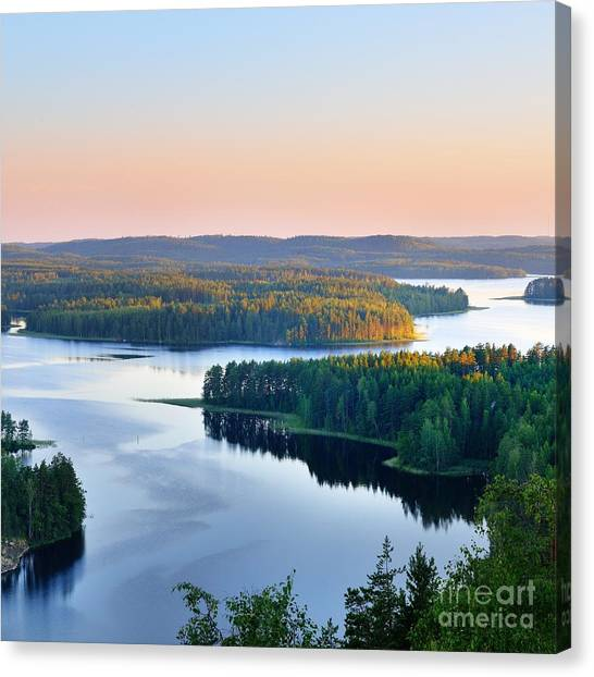 Woodland Canvas Print - Landscape Of Saimaa Lake From Above by Aleksey Stemmer