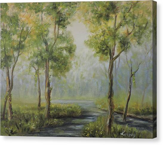 Landscape Of The Great Swamp Of New Jersey With Pond Canvas Print