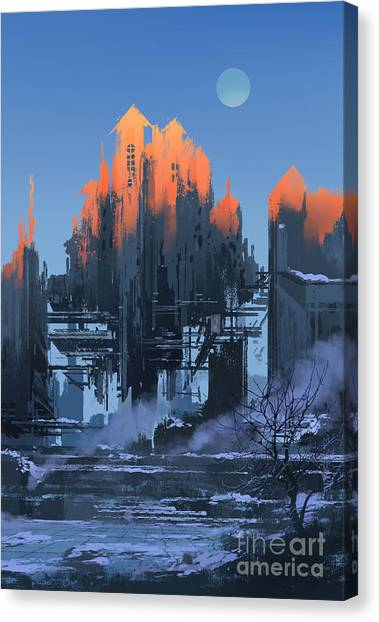 Urban Decay Canvas Print - Landscape Painting Of Abandoned by Tithi Luadthong