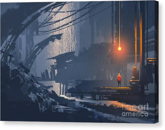 Acrylic Canvas Print - Landscape Painting Of Underground by Tithi Luadthong