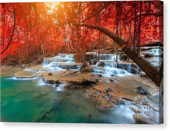 Woodland Canvas Print - Landscape Photo, Huay Mae Kamin by Suwit Ngaokaew