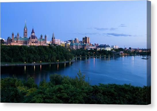Parliament Hill Canvas Print - Landscape Shot Of The Ottawa Skyline In by Karenmassier