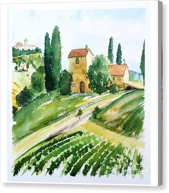 Farmland Canvas Print - Landscape With Houses, Watercolor by Jullyg