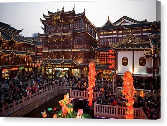 Chinese New Year Canvas Print - Lantern Festival At Yuyuan Bazaar by Richard I'anson