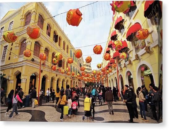 Chinese New Year Canvas Print - Lanterns Hanging In Senate Square Largo by Wibowo Rusli