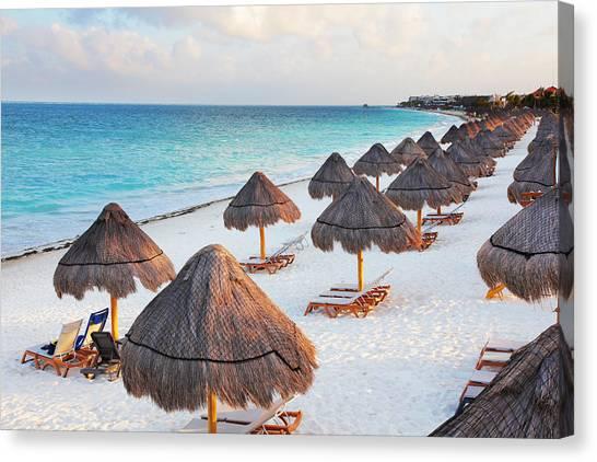 Large Tropical Beach With Palapas Canvas Print