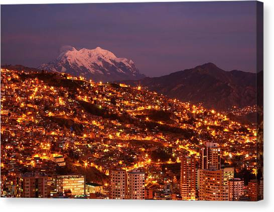 Last Light On Illimani (6438m/21,122ft Canvas Print by David Wall