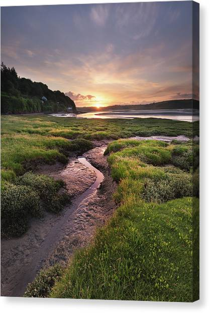 Canvas Print featuring the photograph Laugharne Estuary At Sunrise by Elliott Coleman
