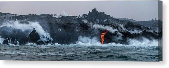 Canvas Print featuring the photograph Lava Entering The Sea IIi by William Dickman