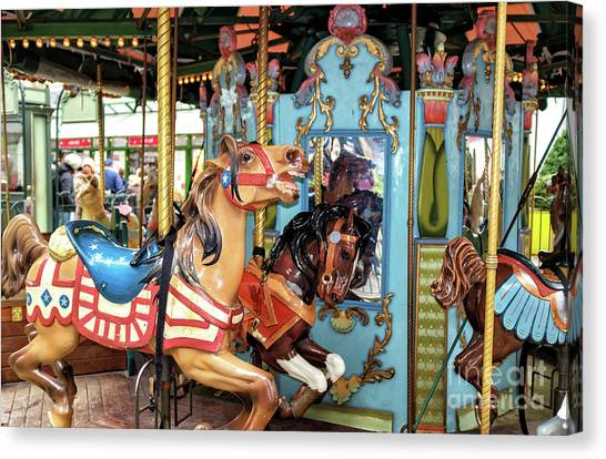 Le Carrousel Colors At Bryant Park In New York City Canvas Print by John Rizzuto